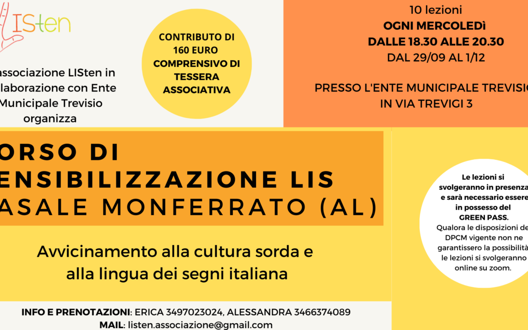 CORSO DI SENSIBILIZZAZIONE LIS a Casale Monferrato (AL)